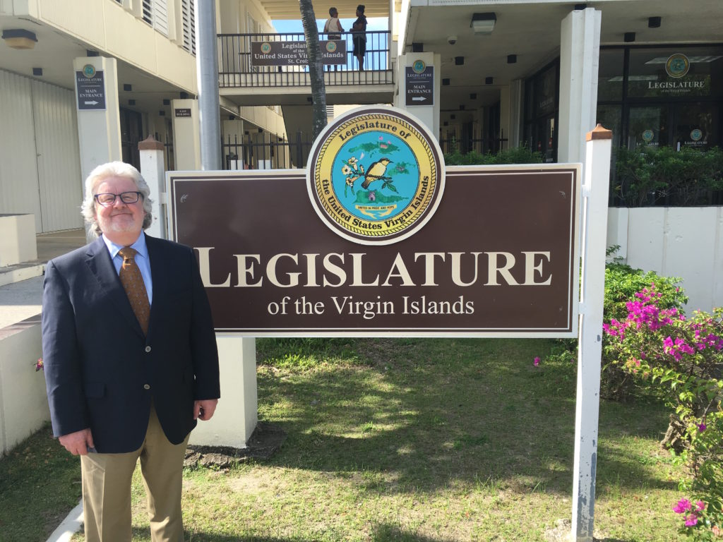 Jeremy Feakins at the Legislature of the Virgin Islands