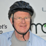 Ed Begley Jr in bike helmet